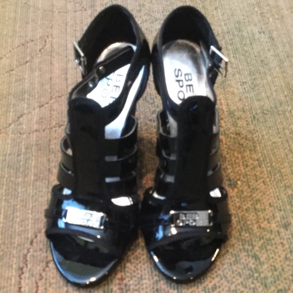 bebe sport Shoes | Black Patent Wedge
